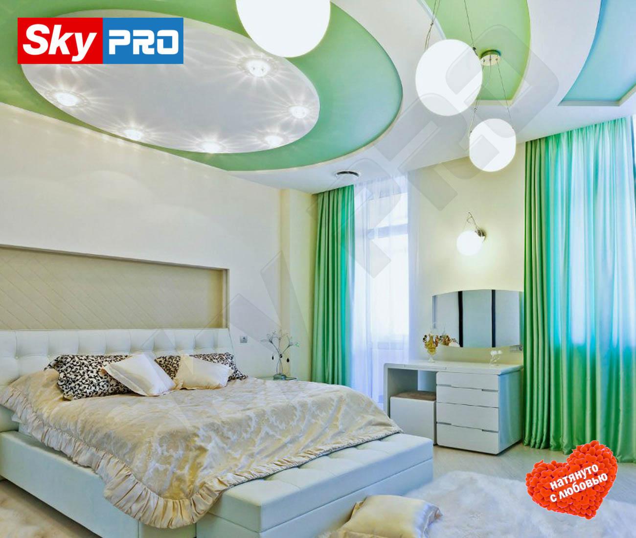 Цветной сатиновый натяжной потолок Премиум цена за метр