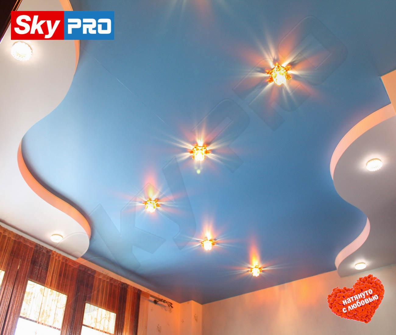 Цветной сатиновый натяжной потолок Классик цена за метр