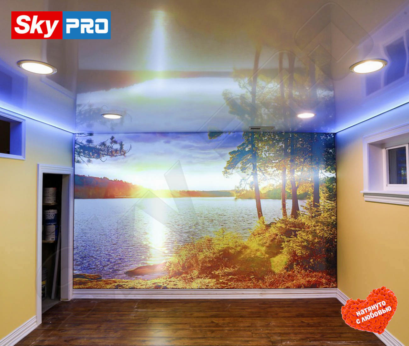 Парящий натяжной потолок цена за м2 rgb