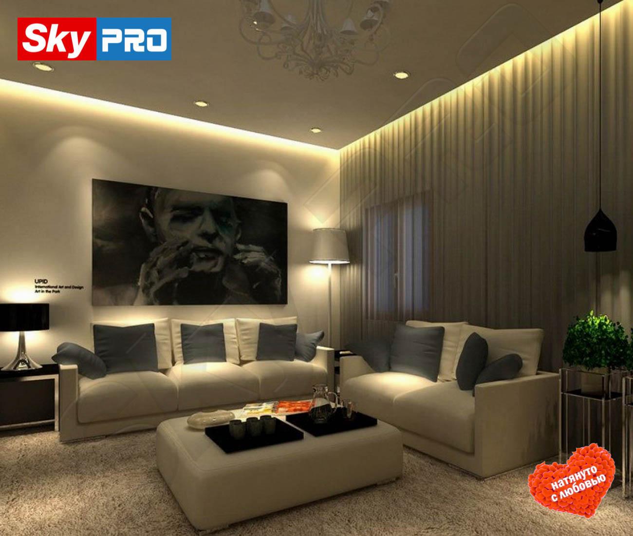Парящий натяжной потолок цена за м2 белый