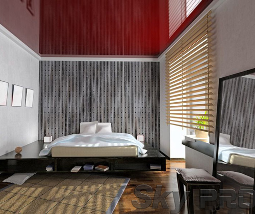 Установка натяжного потолка в спальне в Любытино