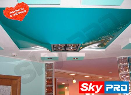Натяжной потолок в форме конуса